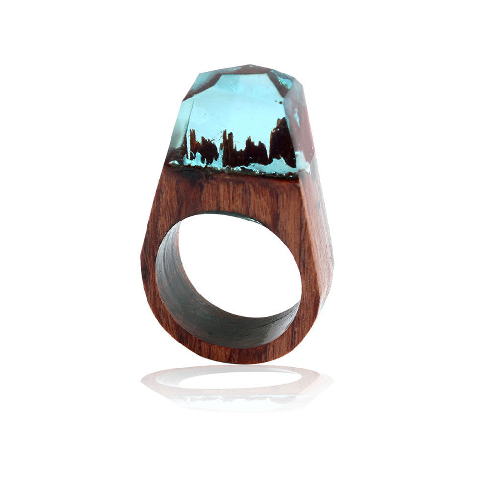 Handmade Wood Resin Ring with Magnificent Tiny Fantasy Secret Landscape