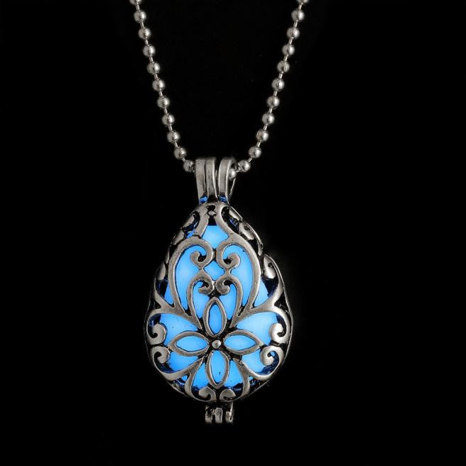 Women Glow In Dark Locket Hollow Pendant Luminous Necklace