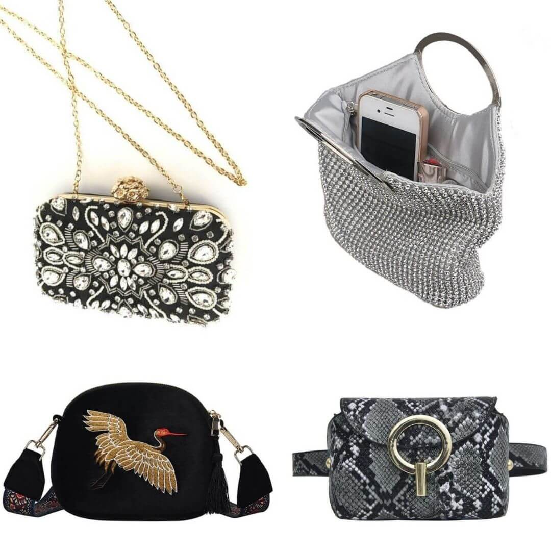 various evening and daytime handbags and clutches