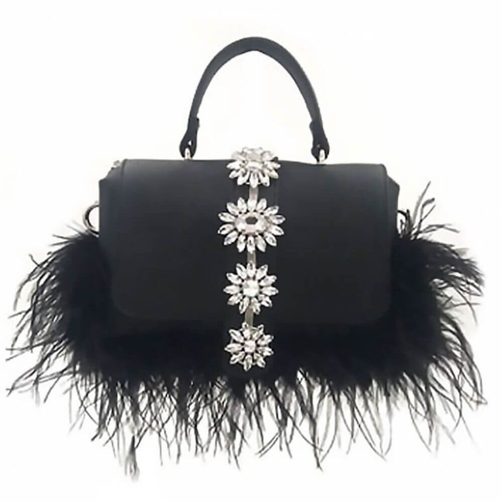 Elegant Rhinestone Black  Messenger Bag Acadia  - belledesoiree.com