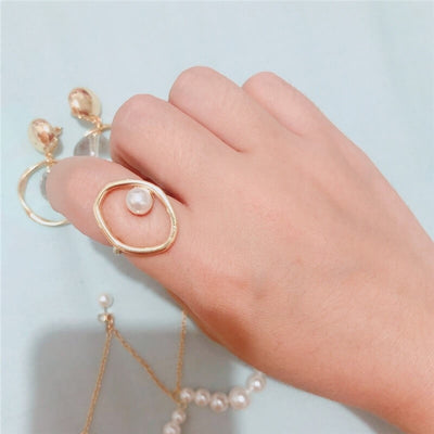 Pearl Bracelet & Ring with Matching Earrings Set Amanda