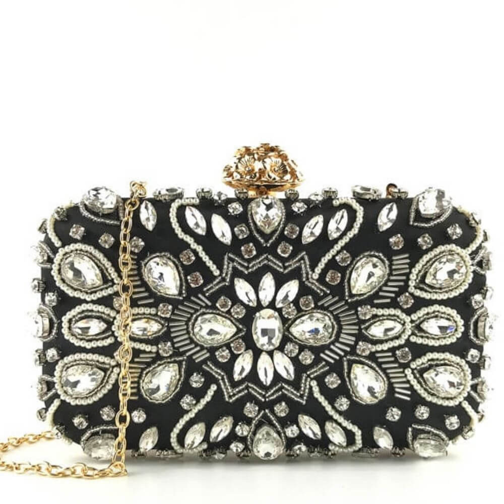Beaded Rhinestone Evening Clutch Bag Aurora  - belledesoiree.com