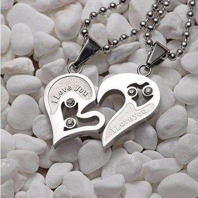 """The Heart Necklace for Couples""- belledesoiree.com"