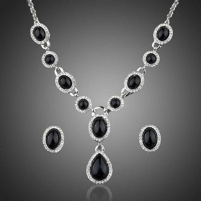 Black Silver Jewellery Set Marie Antoinette     - belledesoiree.com