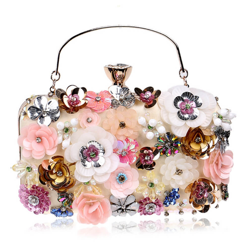 Satin Rhinestones Bag Iris   - belledesoiree.com