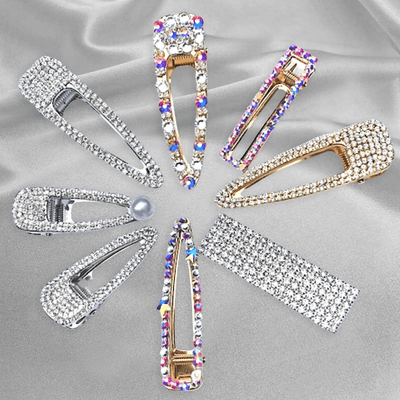 Big Crystal  Diamond Rhinestone Pearl Hair Clips