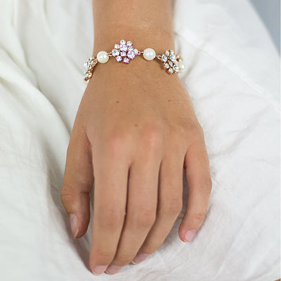 Crystal Pearl Rose Gold Bracelet