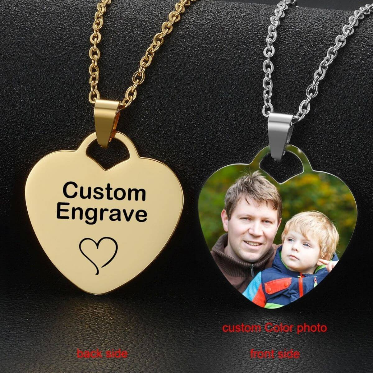 Customized Stainless Steel Heart Pendant Necklaces