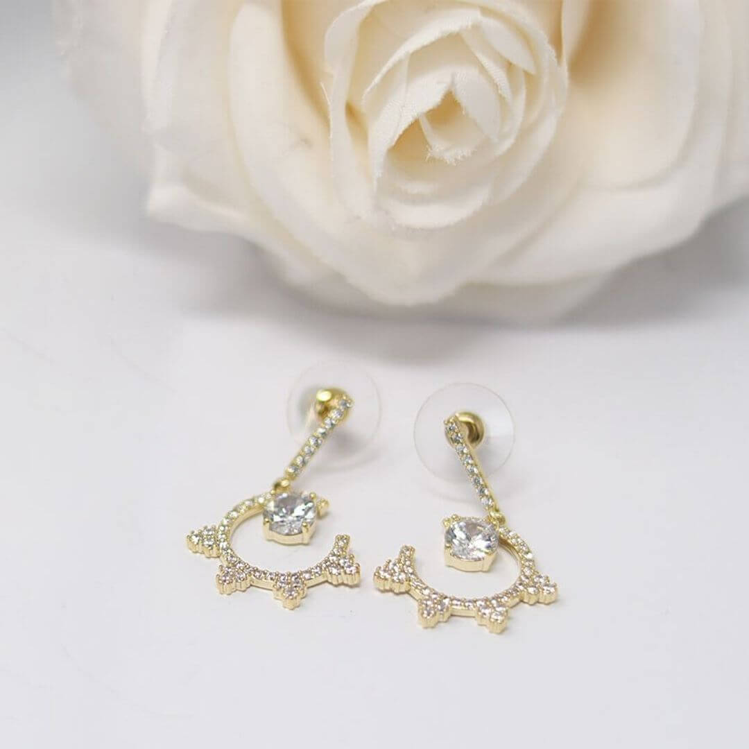 Diamante Gold Chandelier Earrings