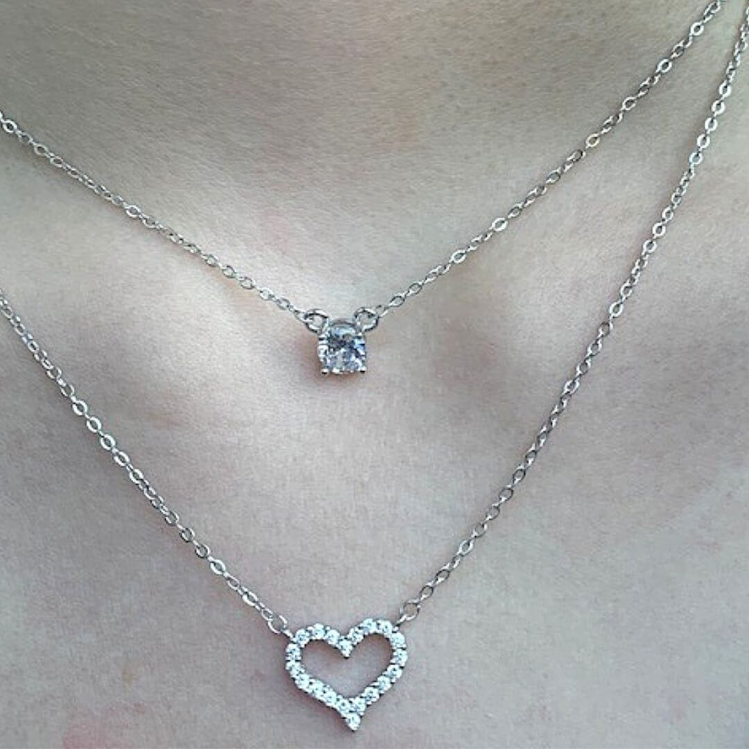 Eternally Glimmering Sterling Silver Heart Necklace