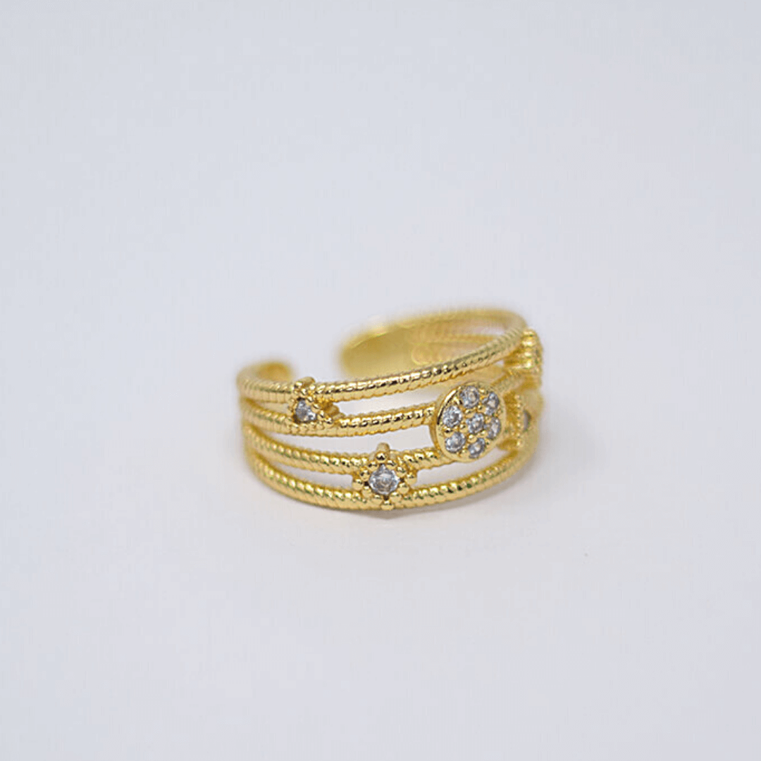 Geometric Crystal Triple Gold Filled Ring