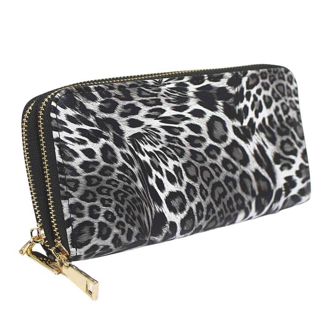 Large Women Leopard Zipper Wallet Purse