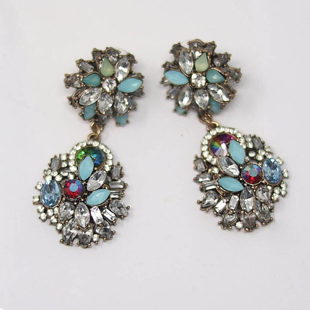 Multi Color Vintage Crystal Statement Earrings