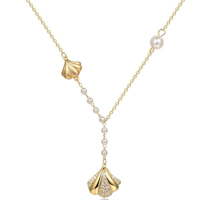 Stylish Two Shell Long Pendant Necklace Naxos