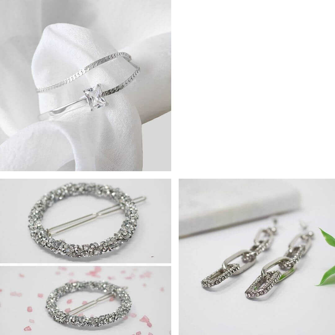 Adjustable Dazzling Silver Layer Bracelet + Silver Rhinestone Earrings + Crystal Hair Clip
