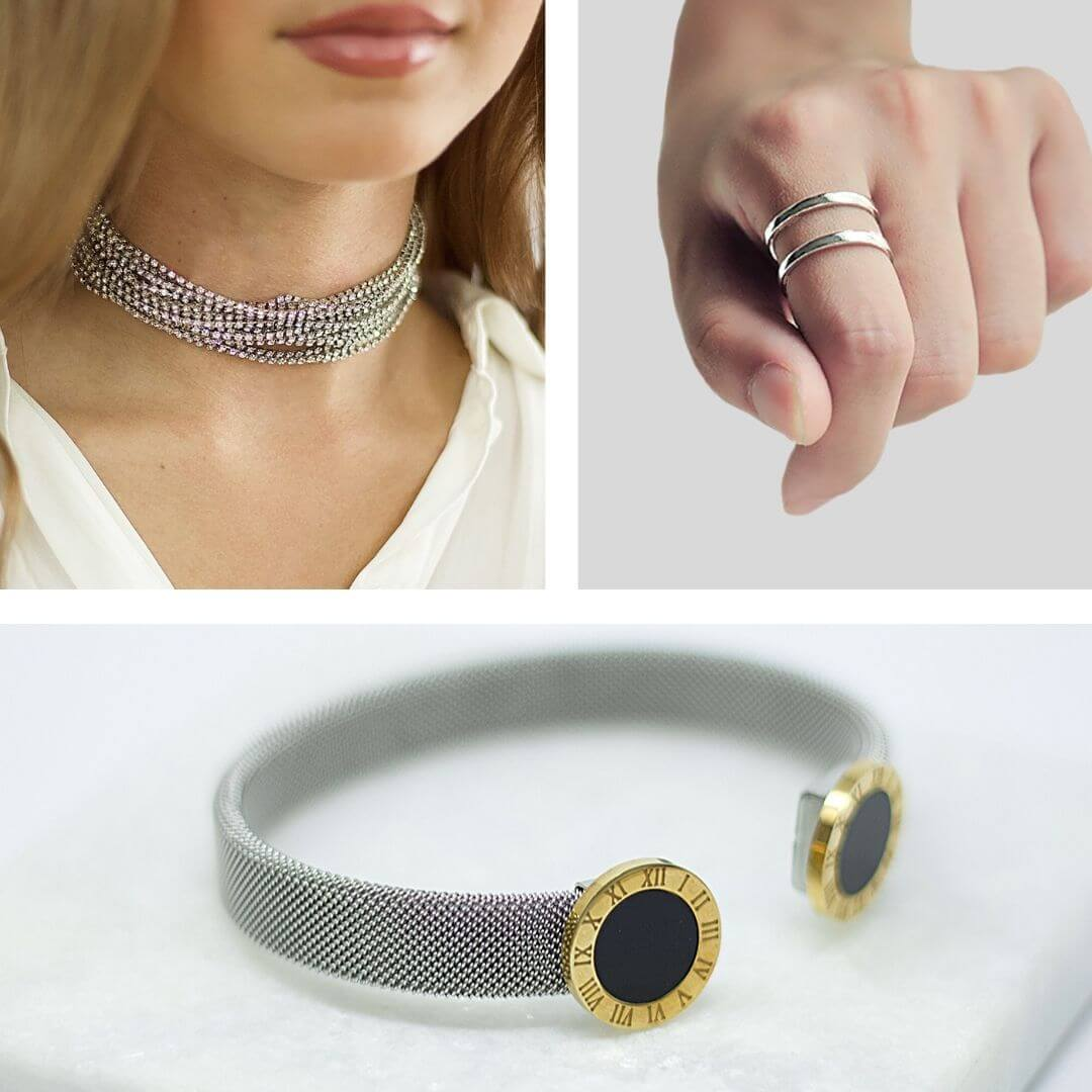 Crystal Silver Choker + Chic Silver Ring + Roman Mixt Silver Gold Bracelet