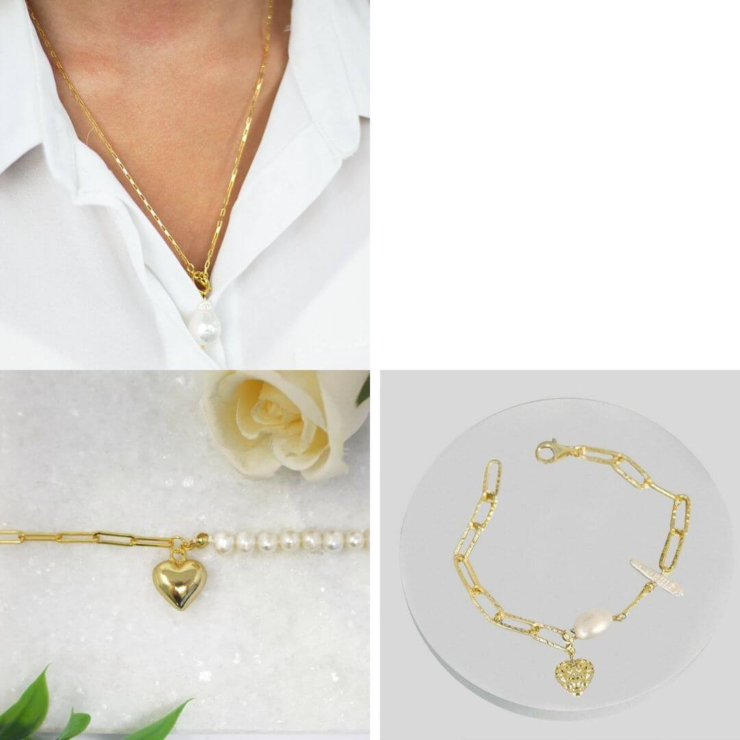 Pearl Gold Charm Bracelet + Chain Heart Necklace or +  Freshwater Pearl Silver Necklace