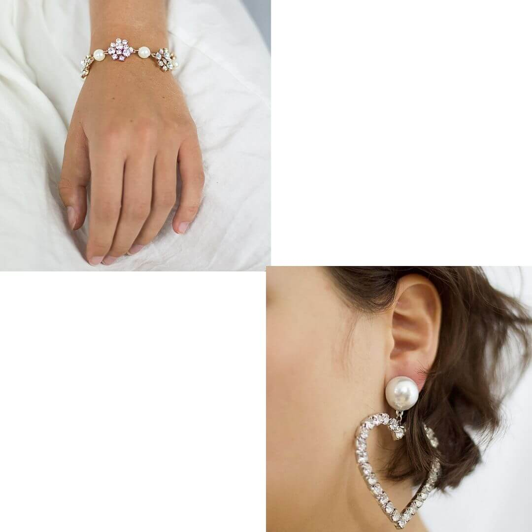 Diamante Crystal Earrings + Crystal Pearl Rose Gold Bracelet