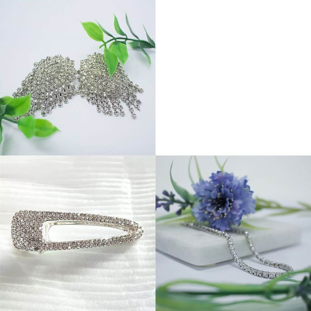 Vintage Gold Plated or Zirconia Bracelets+ White & Silver Earrings + Crystal Hair clips