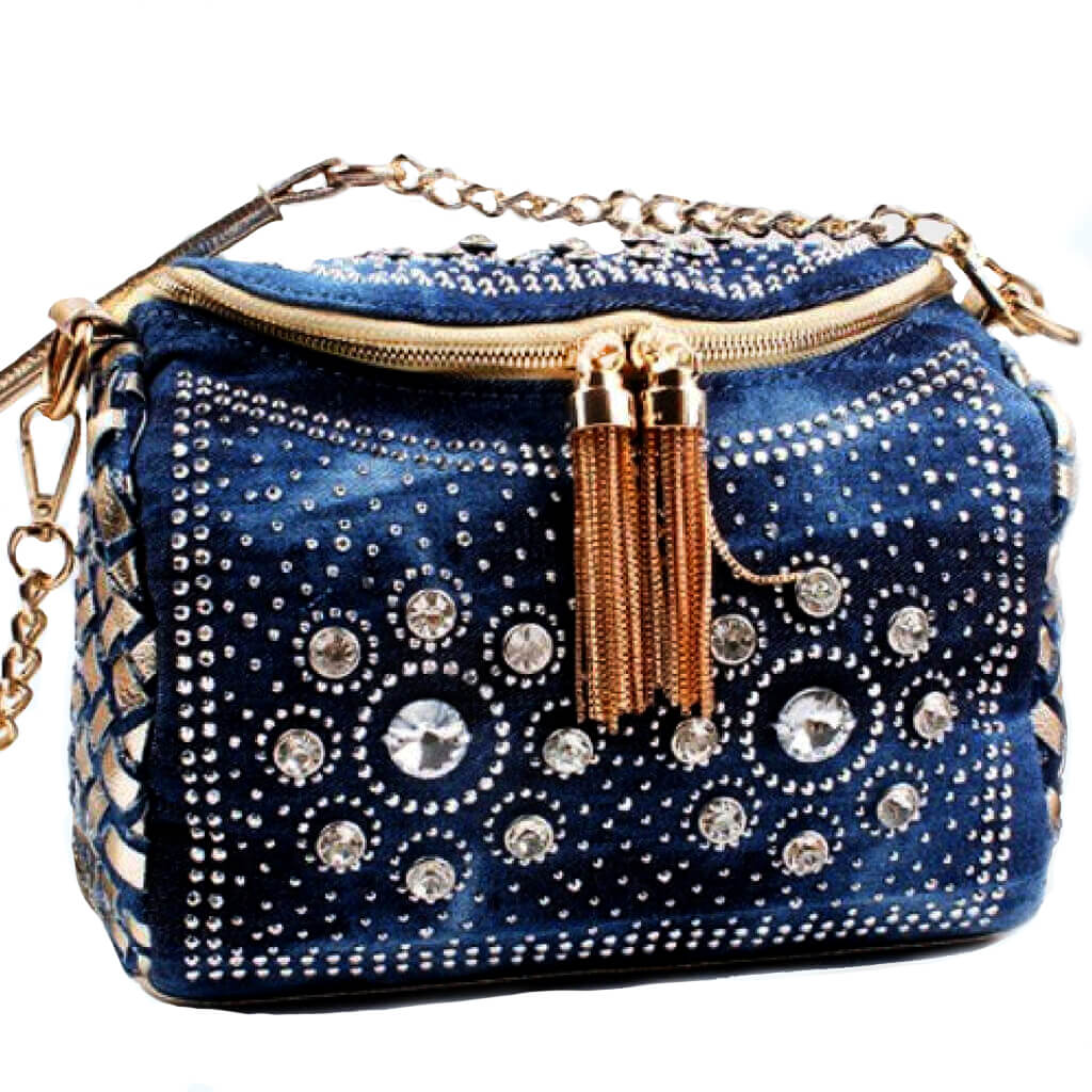 The Denim:  Soft Braided Handbag -  - belledesoiree.com