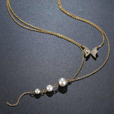 Double Layered Chain Pearl Necklace Paxi