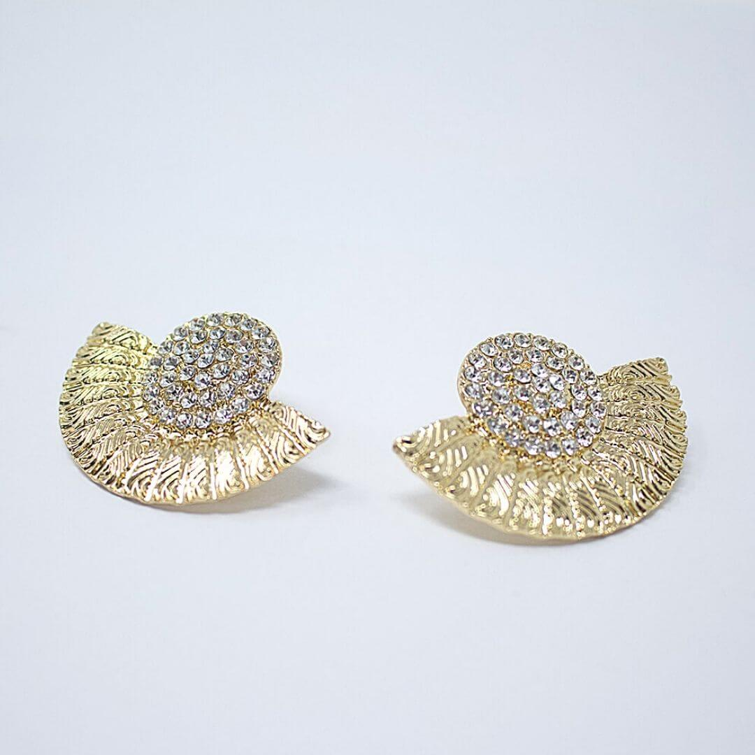 Rhinestone Vintage Gold Stud Earrings Rita