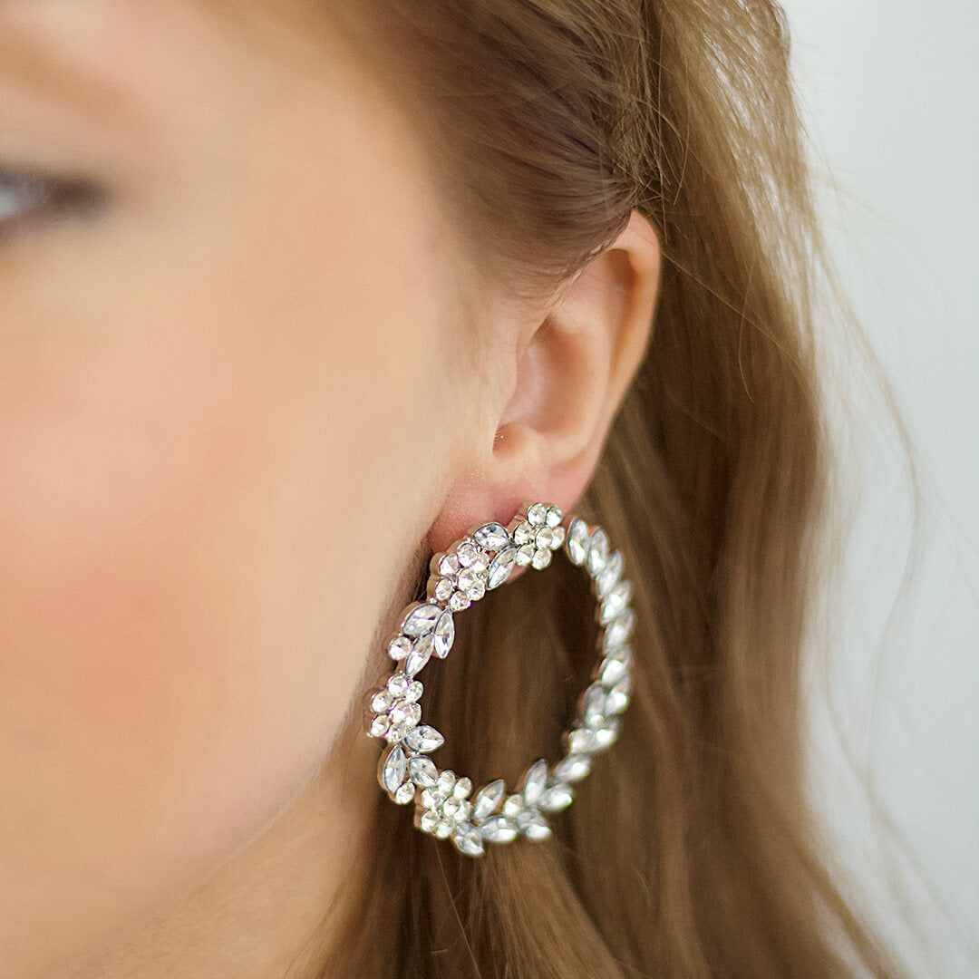 Crystal Leaves Stud Hoop Earrings Sacha