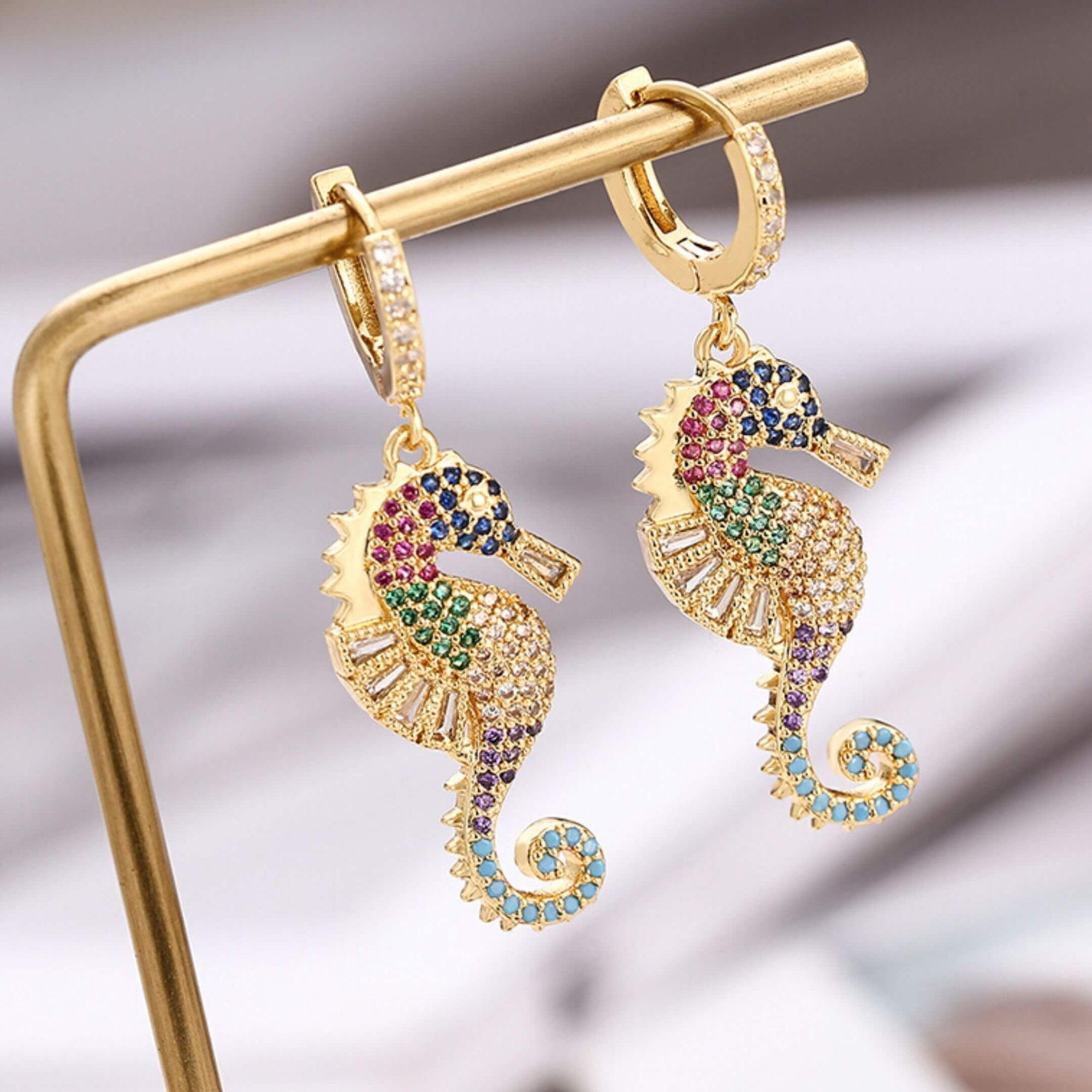 Colorful Gold Zircon Drop earrings Seaside