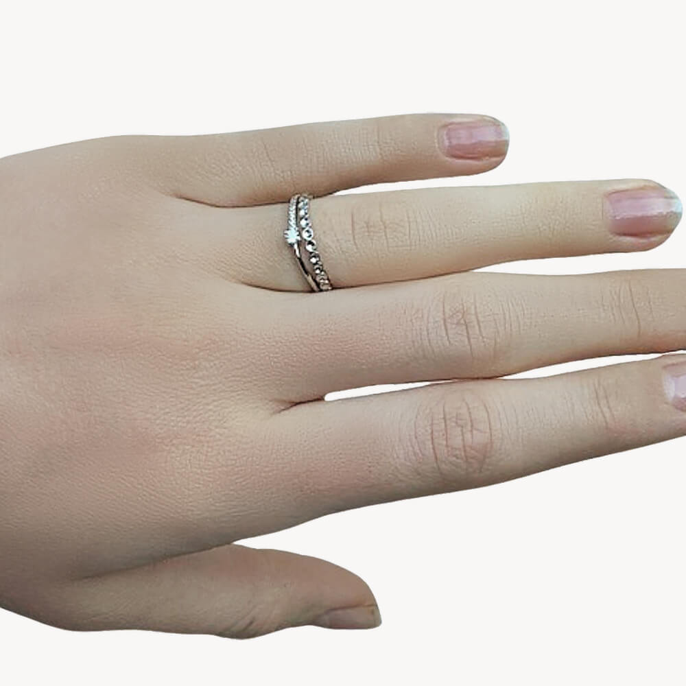 Shimmering Rows Double Sterling Silver Adjustable Ring
