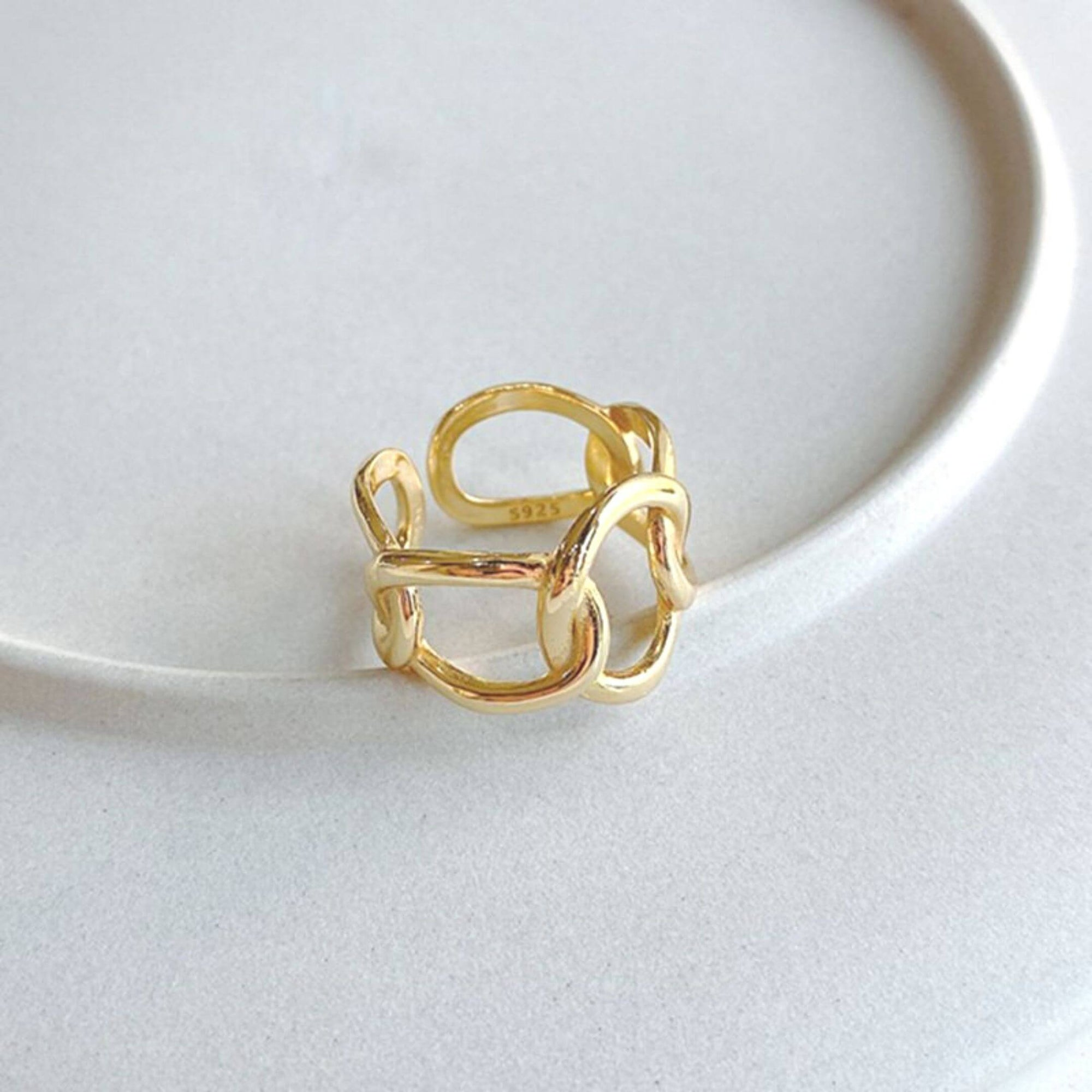 Showstopping Gold Plate Link Ring