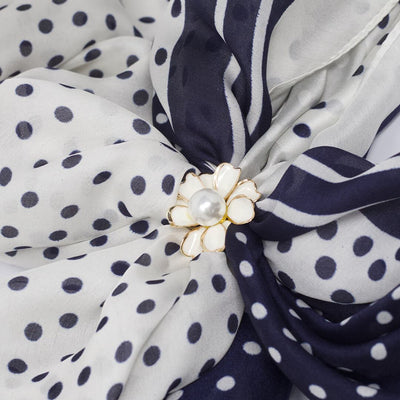 White buckle for the Large Dark Navy Blue Silk Scarf