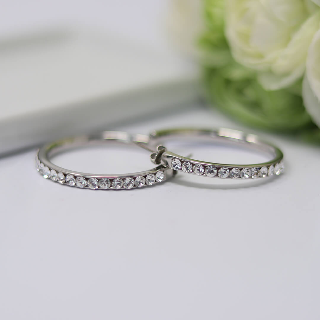 The White Sparkle Hoops Earrings