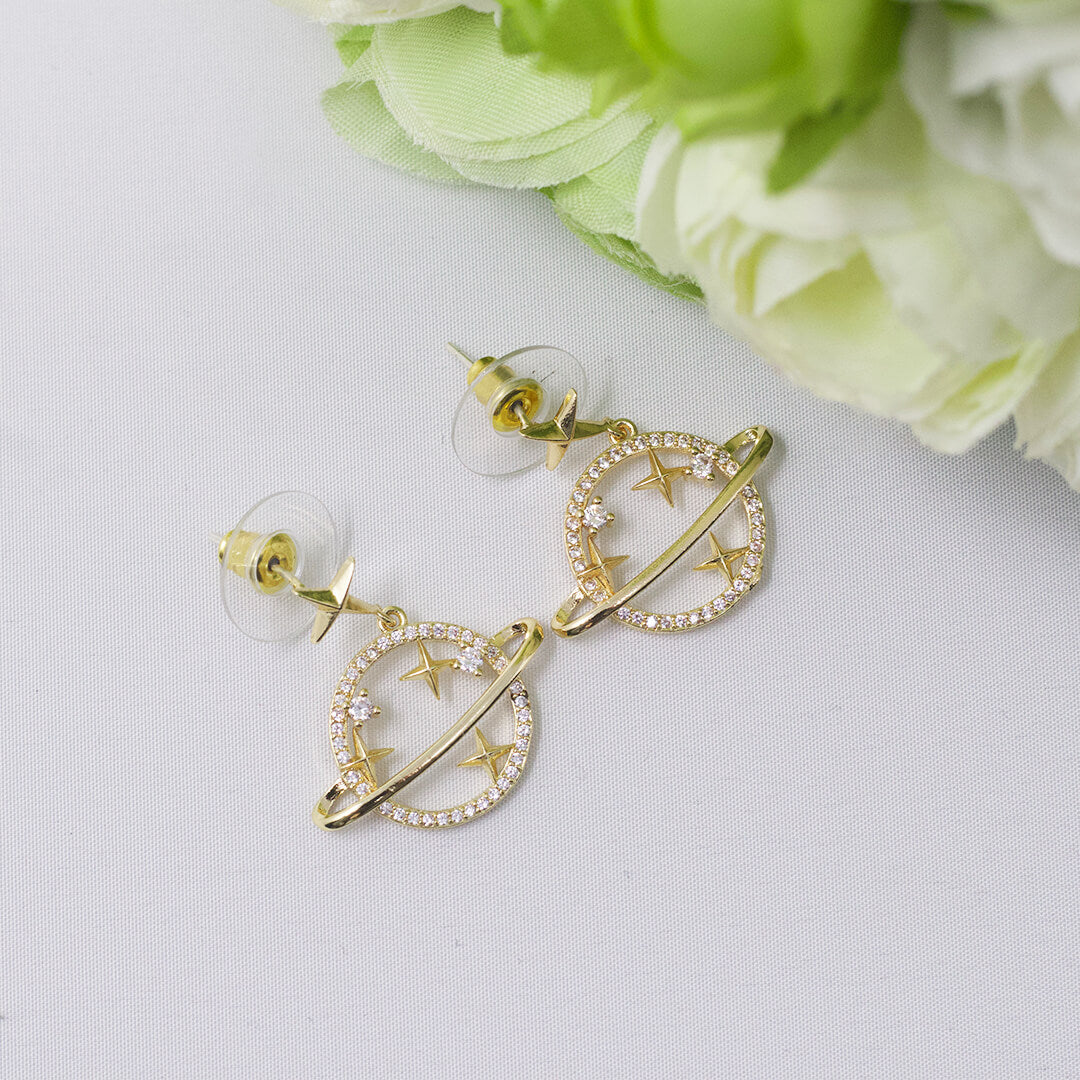 Trendy Crystal Gold Color Star Earrings