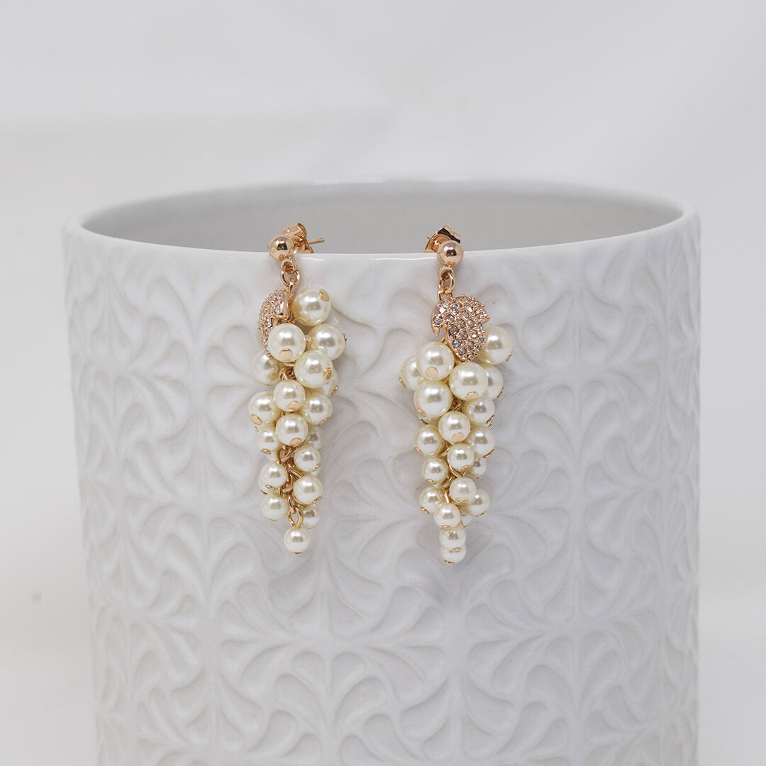 White Pearl & Crystal Earrings