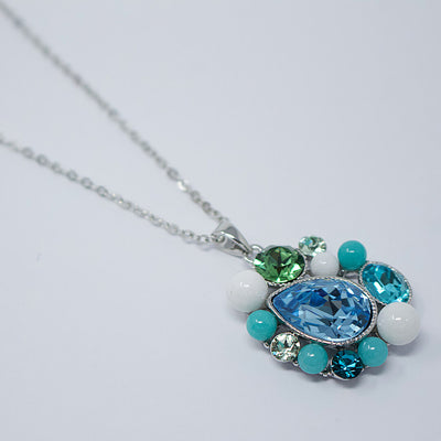 Crystal Blue Pendant Necklace
