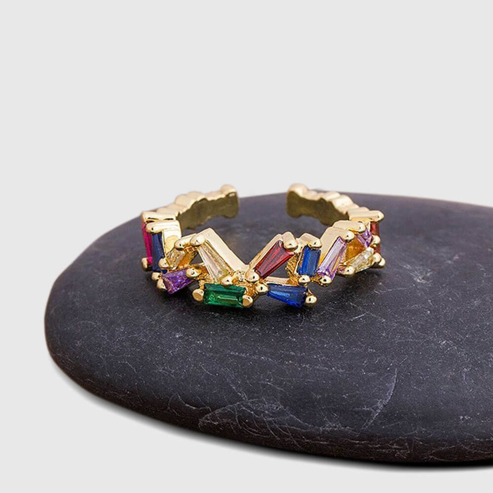 Multicolour Gem Open Ring