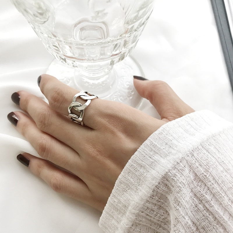 Retro Silver Chain Ring