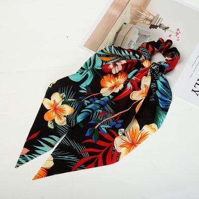 Colorful Ponytail Scarf Flower Hair Band