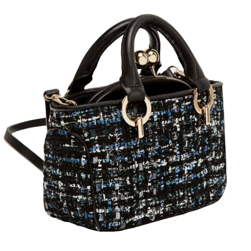 Multifunctional Mixt Grey and Black Handbag Edith  - belledesoiree.com