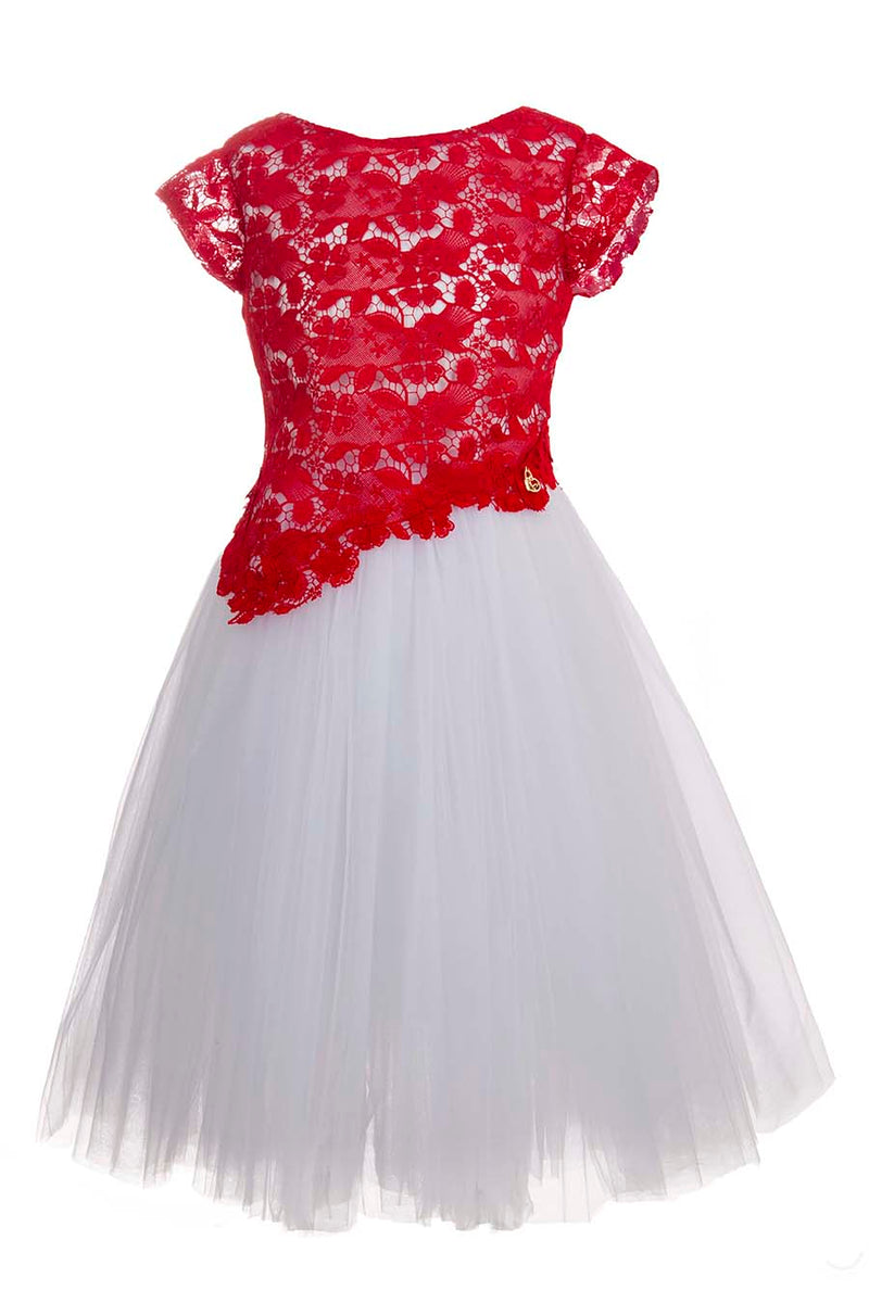Red Guipure Lace party dress