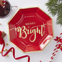 Merry and Bright Gold Foiled Paper Plates - Red and Gold
