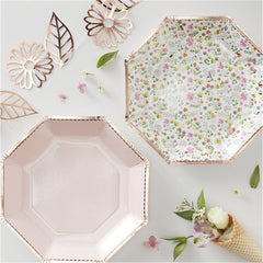 ditsy floral rose gold octagonal paper plates