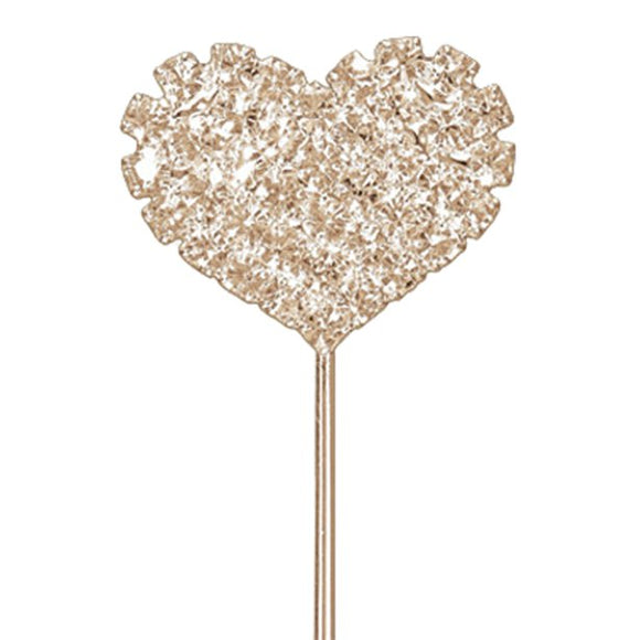 Rose Gold Diamante Heart Cake Pick - 2.5cm - Club Green - Made by you Supplies