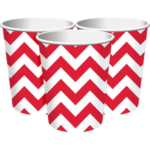 Red Chevron Paper Cups - Set of 8 - Amscan - Made by you Supplies