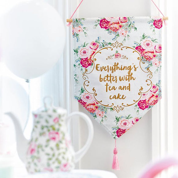 Truly Scrumptious Fabric Tea and Cake Banner Sign - 38cm - Talking Tables - Made by you Supplies
