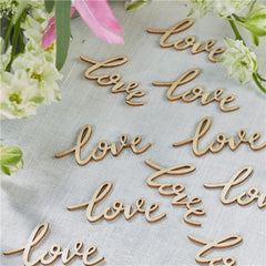 wooden word love table confetti crafting