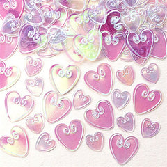 iridescent embossed heart shaped table confetti