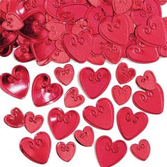 red embossed heart shaped table confetti