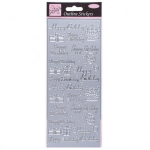 Anita's Outline Stickers - Happy Birthday Assorted - Silver - Made by you Supplies