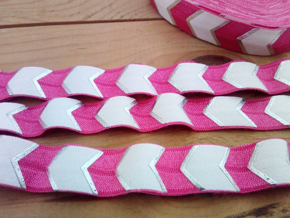 Pink Chevron Fold Over Elastic - 5/8